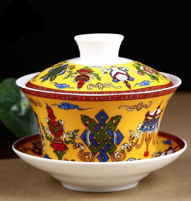 Ceramic painted eight auspicious pattern gaiwan teacup