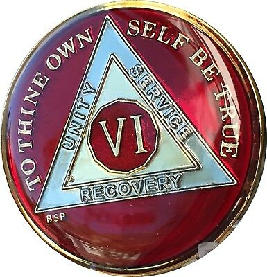 AA 6 Year Chip Red TriPlate Alcoholics Anonymous Medallion Sobriety Token
