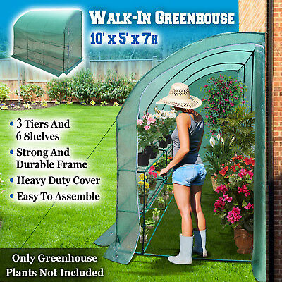 New Large Walk-In Wall Half Greenhouse 10x5x7'H w 3 tiers/6 Shelves Gardening