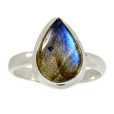 Fine Rings Natural Labradorite Rough 925 Sterling Silver Ring Jewelry S.10.5 Ar59761