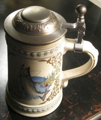 Vintage fishing beer stein pike trout outdoors tackle