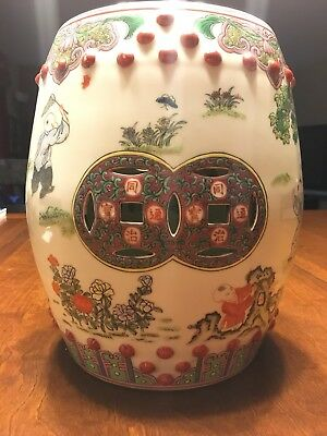 Antique Chinese Porcelain Famille Rose Garden Children At Play Drum Stool Seat