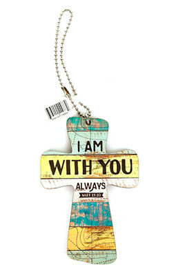 I Am With You Always Multicolor Vintage Wood Look Car Charm by P. Graham Dunn