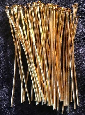 Head Pins - Gold - 50Mm - 500 Pieces - New