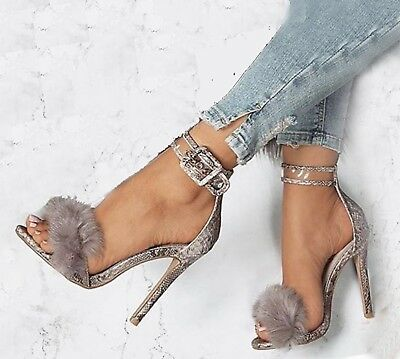 Women Sexy Stiletto Fur Sandals High Heels Ankle Strap Gladiator Snake Skin Size