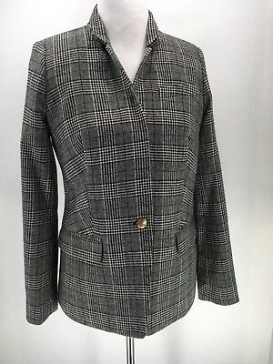 J.CREW Womens Linen White Glen Plaid Gold Button Blazer Coat Jacket  Sz 8