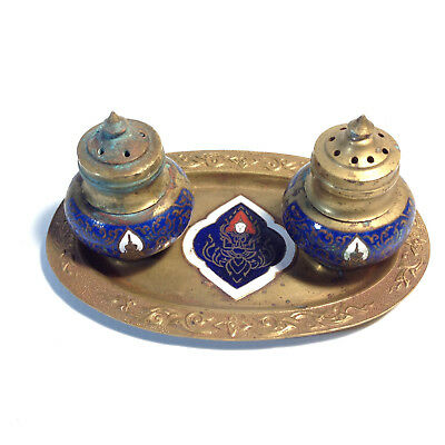 Vintage Brass & Enamel Indian Salt & Pepper Shakers with Tray