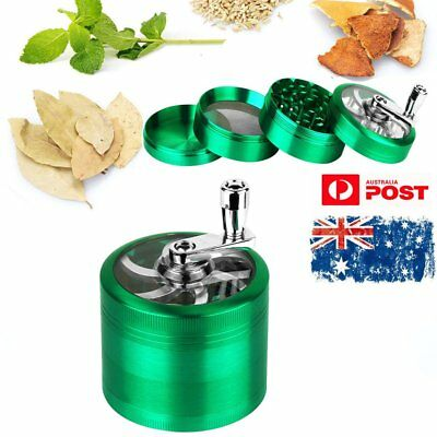 55mm Green Smoke Grinder Herb Alloy Hand Crank Herbal Tobacco Grinders 4-layer
