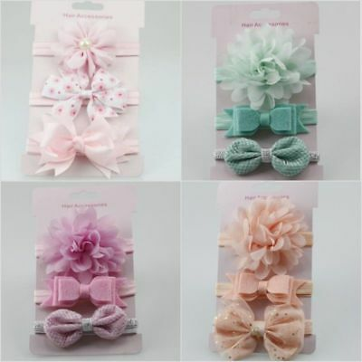 Pcs Baby Girls Infant Toddler Flower Bow Headband Hair Band Beauty 3Accessories