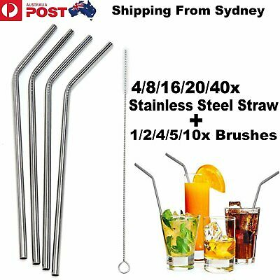 8-40x Stainless Steel Metal Drinking Straw Straws Bent Washable Reusable + Brush