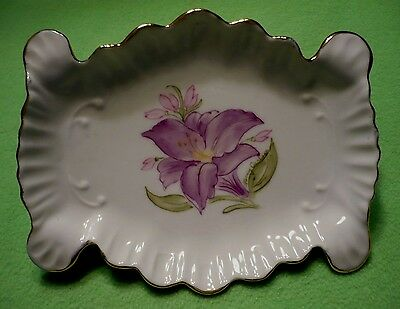 Vintage hand painted porcelain SOAP DISH / TRINKET TRAY with vibrant flowers.