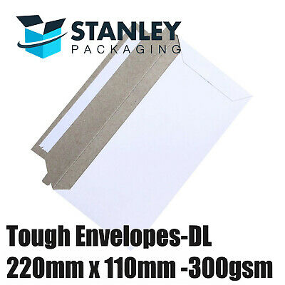 Card Mailer DL 220x110mm 300gsm Business Envelope Tough Bag 220mm x 110mm White