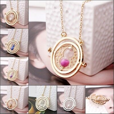 Harry Potter Time Turner Gold Necklace Hermione Granger Spins Hourglass Pendant