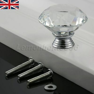 UK STOCK 40mm Crystal Glass Furniture Door Knob Clear Pull Drawer Cabinet Handle