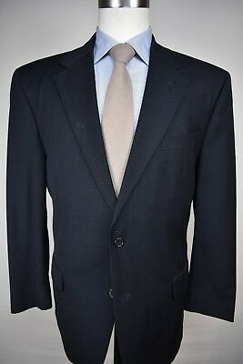 Jos. A. Bank Navy Blue Pinstripe Wool Blend Two Button Two Piece Suit Size: 44R