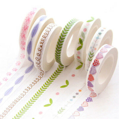 7mm*10m Paper Masking Tape Slim Washi Tape Dividing Boarder Line Decorate Tape X
