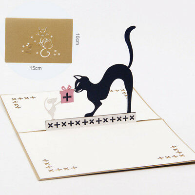 3D Pop Up Cat and Mouse Animal Birthday Greeting Card Christmas Invitation