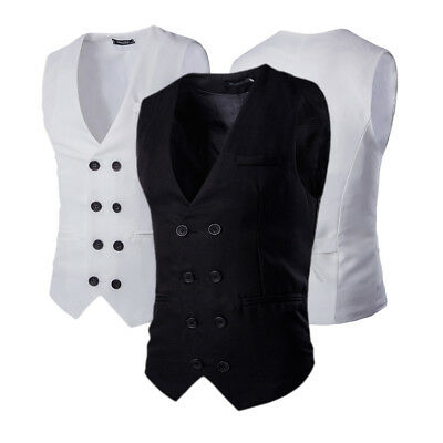 Luxury Men's Fashion Slim Fit Casual Dress Waistcoat Double Breasted Suit Vest