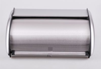 Bread Bin Roll Top Box Kitchen Storage Loaf Container Stainless Steel New Small
