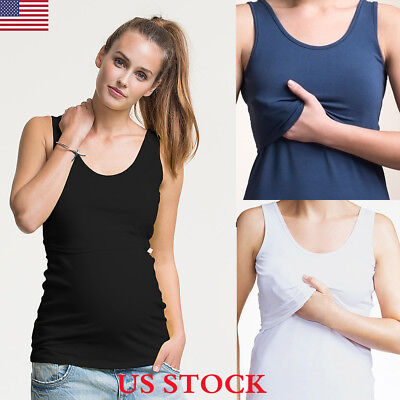 US Women Pregnant Maternity Clothes Nursing Vest Tops Breastfeeding T-Shirt New