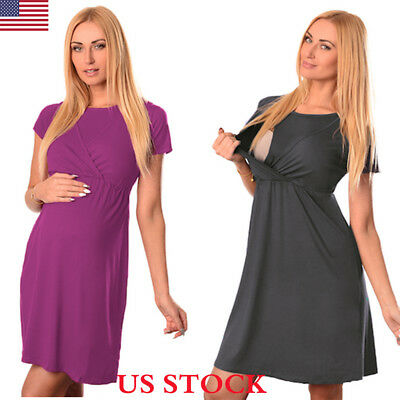 US Pregnant Women Short Sleeve Nursing Breastfeeding Summer Maternity Mom Dress
