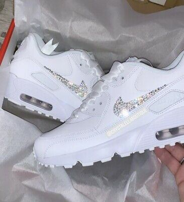 Customised Crystal Nike Air Max 90's in White Nike Swarovski Crystal Trainers.