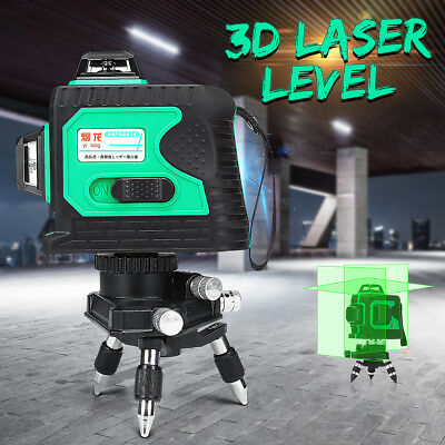 3D Auto Laser Level 12 Line GREEN 360° Self Leveling Vertical Horizontal Cross