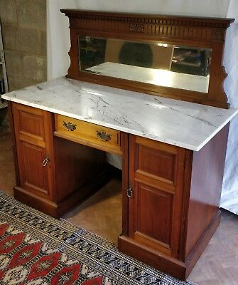Walnut Edwardian dresser with marble top and mirror; excellent condition