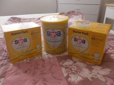 SMA pro first milk from birth two starter packs bottles & teats & one 800g tin