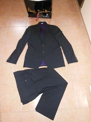 Paul Smith PS WOOL mens suit  jacket Sz -48 (M)+Pants SZ-32 Made in Italy Black