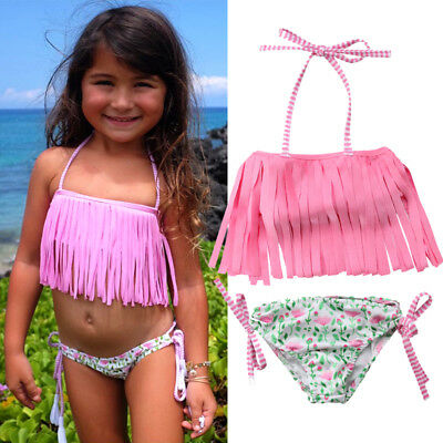 Child Kids Baby Girl Flower Tassel Swimwear Swimsuit Bathing Beachwear Bikini AU