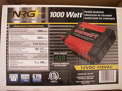 NRG modified sine wave 1000w power inverter