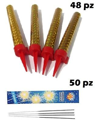 48 Candele Candeline Magic Flambe Fontana Luminosa Party Torta + 50 Scintille