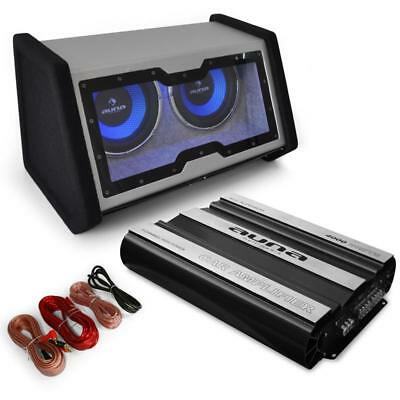 """Dual 12"""" Car Woofer Sub Bass System + 4 Channel 4000W Amplifier + Wiring Kit"""