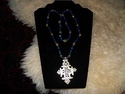 Antique  Ethiopian African blue glass trade beads brass  coptic cross  necklace