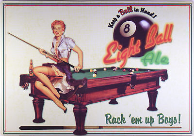 Eureka Lake Eight Ball Ale Blechschild Flach Neu aus USA 32x42cm S1805