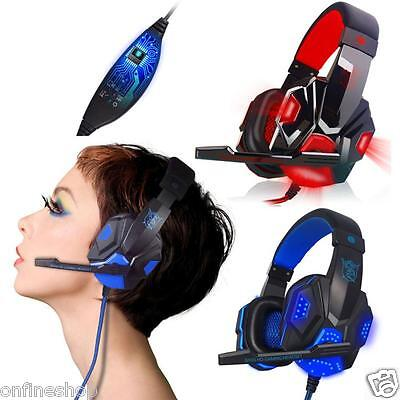 Surround Stereo Gaming Headset Headphone USB 3.5mm Mic LED for PC Lot