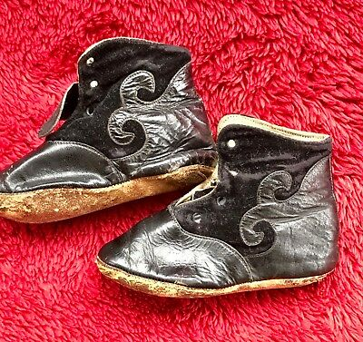 Antique Victorian High Top leather Baby or doll shoes