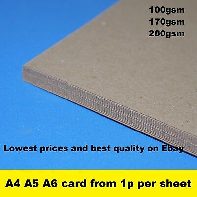 A3 A4 A5 A6 Kraft Card Craft Recycled Printer Paper Brown 100% ECO