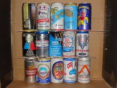 bcollection of test cans and special event release beer cans