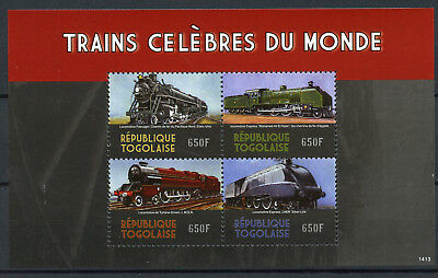 Togo 2014 MNH Famous Trains of World 4v M/S Locomotives Railways Rail Stamps