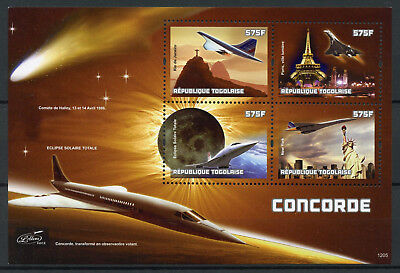 Togo 2012 MNH Concorde Halley's Comet Solar Eclipse 4v M/S Aviation Space Stamps