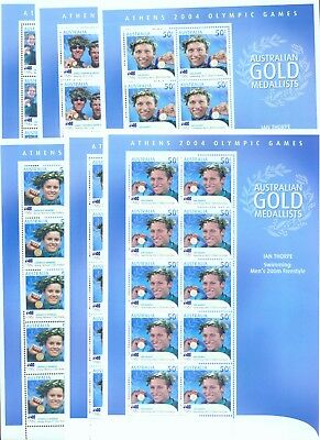 Australia 2004 Olympic Gold Medalists set of 17 sheets of 10 MNH