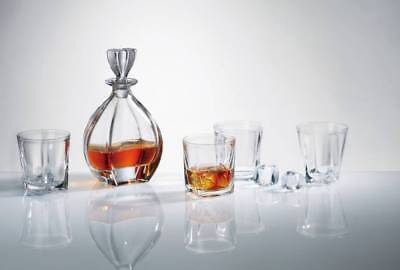 Glass Whiskey Decanter 950ml Brandy Sherry Scotch & 6 Tumblers 260ml Set Crystal