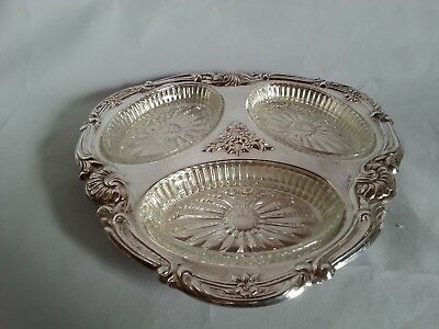 """Sheridan Silver Plated Serving Tray 3 Glass Inserts 9 1/2"""" Wide"""