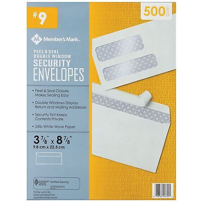 Member's Mark #9 Peel & Seal Double Window Security Envelopes (500 ct.)