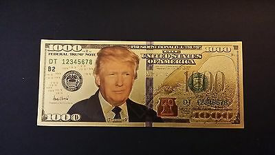 45th President Donald Trump $1000 bill that's finished in 24k . 999 gold