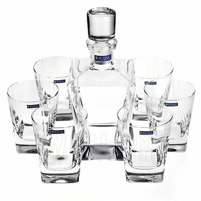 Glass Whisky Decanter 750ml Brandy Sherry Scotch & 6 Tumblers 280ml Set Crystal