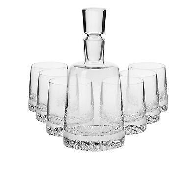 Glass Whiskey Decanter 950ml Brandy Sherry Scotch & 6 Tumblers 300ml Set Crystal