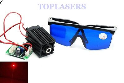 DC12V 100mw 650nm Red Laser Diode Module Dot Lights + TTL + Protective Goggles